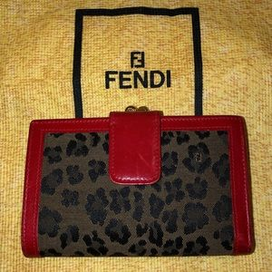 *RARE* Vintage FENDI Leopard Print French Wallet